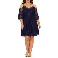 City Triangle Elbow Sleeve A-Line Dress-Juniors Plus