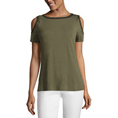 Liz Claiborne Short Sleeve Cold Shoulder T-Shirt