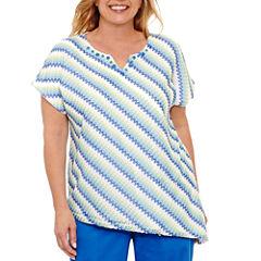 Alfred Dunner Corsica Short Sleeve Split Crew Neck T-Shirt-Womens Plus