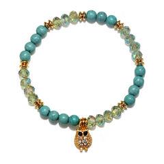 Mixit™ Turquoise Glass Stones Stretch Owl Charm Bracelet