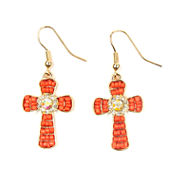 Arizona Orange Seedbead Gold-Tone Cross Earrings