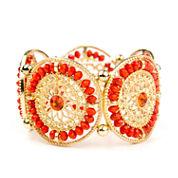 Arizona Orange Gold-Tone Stretch Filigree Bracelet