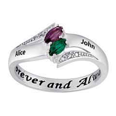 Personalized Diamond-Accent Couple's Name Marquise Birthstone Ring