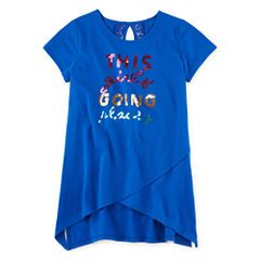 Total Girl® Short-Sleeve Sharkbite Tunic - Girls 7-16 and Plus