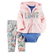 Carter's® 3-pc. Pink Love Cardigan and Pants Set - Baby Girls newborn-24m