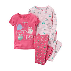 Carter's® Girl Tea Party 4-pc. Long-Sleeve Pajama Set - Baby Girls newborn-24m