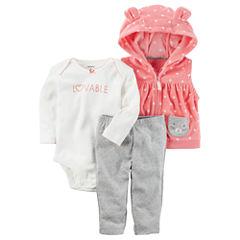 Carter's Hooded Vest 3-pc. Legging Set-Baby Girls