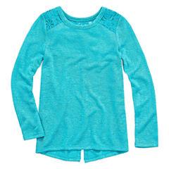 Arizona Crew Neck Long Sleeve Fitted Sleeve Blouse - Toddler Girls
