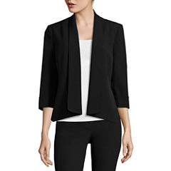 Black Label by Evan-Picone 3/4-Sleeve Open-Front Jacket
