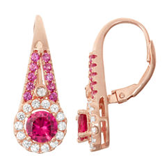 Lab-Created Ruby & White Sapphire Diamond Accent 14K Rose Gold Over Silver Leverback Earrings