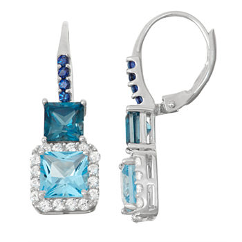 Genuine London Blue Topaz Amp Lab created Sapphire Sterling Silver Leverback Earrings