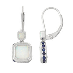 Lab-Created Opal & Sapphire Sterling Silver Leverback Earrings