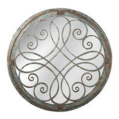 Distressed Blue Round Scroll Wall Mirror