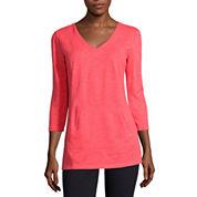 Liz Claiborne® 3/4-Sleeve Kangaroo Pocket Pullover Tunic