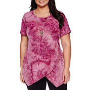 Alyx® Short-Sleeve Textured Asymmetrical Tie-Dye Top with Necklace - Plus