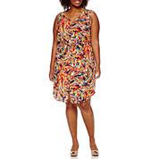 Liz Claiborne® Sleeveless V-Neck Button-Front Dress - Plus