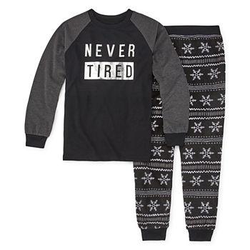 Holiday Famjams Black Fairisle Foil Family Unisex 2 pc Pant Pajama Set Big Kid