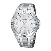 Pulsar® Mens White Dial Stainless Steel Sport Watch  PXH705