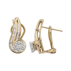 3/4 CT. T.W. Diamond Two-Tone 10K Gold Swirl Earrings