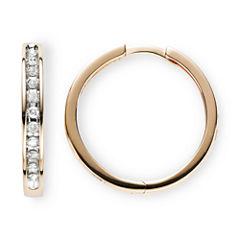 1/3 CT. T.W. Diamond 10K Rose Gold Hoop Earrings