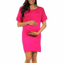 24/7 Comfort Apparel Tee Shirt Dress-Maternity