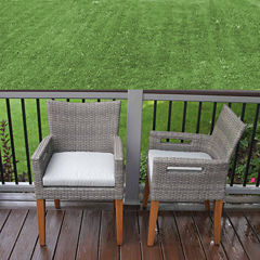Outdoor Interiors Wicker and Eucalyptus Arm Chairwith Cushion