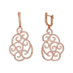 Cubic Zirconia 18K Rose Gold Over Brass Filigree Drop Earrings