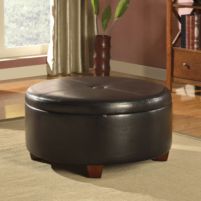 Brenton Faux Leather Round Storage Ottoman