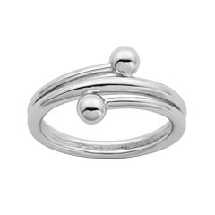 Sterling Silver Double Bead Bypass Ring