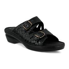 Flexus Footstep Leather Slide Sandals