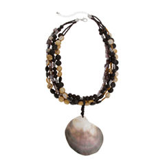 EL by Erica Lyons El By Erica Lyons Black Naturals Womens Shell Pendant Necklace
