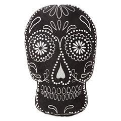 JCPenney Home™ Black Sugar Skull-Shaped Pillow
