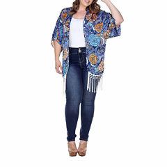 White Mark Fringe Pattern Kimono Plus
