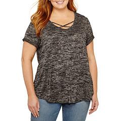 a.n.a Short Sleeve Cross Front T-Shirt-Womens Plus