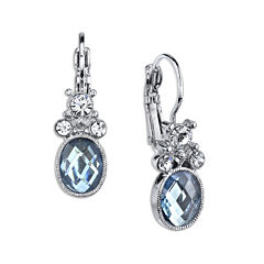 1928® Jewelry Blue Stone and Crystal Drop Earrings