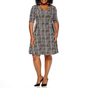 Danny & Nicole® Elbow-Sleeve Jacquard Fit-and-Flare Dress - Plus