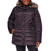 Liz Claiborne® Side-Panel Puffer Jacket with Faux-Fur Hood - Plus