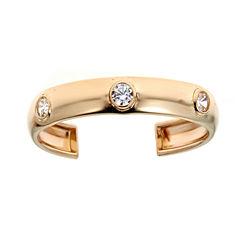 White Cubic Zirconia 14K Gold Toe Ring