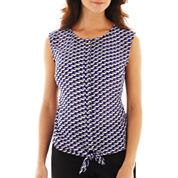 Worthington® Sleeveless Tie-Waist Blouse - Petite