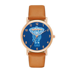 Arizona Womens Gold Tone Elephant Dial Brown Strap Watch