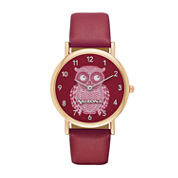 Arizona Womens Silver Tone Owl Dial Maroon Strap Watch