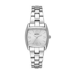 Arizona Silver Tone Rectangular Dial Bracelet Watch