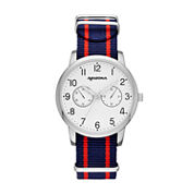 Arizona Mens Silver Tone Blue And Red Strap Watch