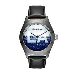 Arizona Mens Sunset Dial Black Strap Watch