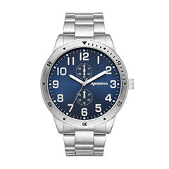 Arizona Mens Gunmetal Blue Dial Bracelet Watch