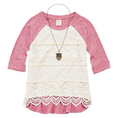 Arizona 3/4-Sleeve Ribbed Lace Front Top with Necklace -Girls 7-16