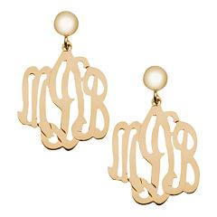 Personalized 12K Gold-Filled Monogram Drop Earrings