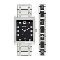 Elgin® Mens Crystal Stainless Steel and Black Watch and Bracelet