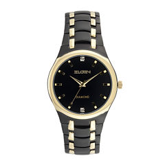 Elgin® Mens Black and Gold-Tone Watch