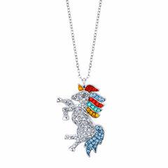 Sparkle Allure Womens Multi Color Silver Over Brass Pendant Necklace